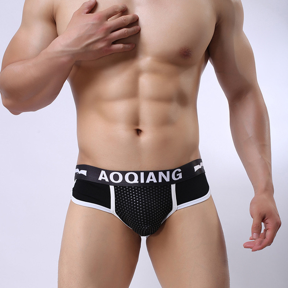 2017 Hot Sexy Men Underwear Briefs Brand Fashion Letter Shorts Bulge Pouch Soft Cotton Underpants Comfortable Male Briefs Shorts elastic string bulge pouch sheer briefs