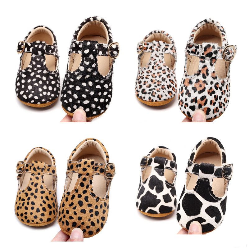 High Quality Leopard Horse Hair Baby Shoes Genuine Leather Soft Sole Baby Boy First Walkers T- Bar Strip Autumn Baby Moccasins