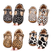High Quality Leopard Horse Hair Baby Shoes Genuine Leather S