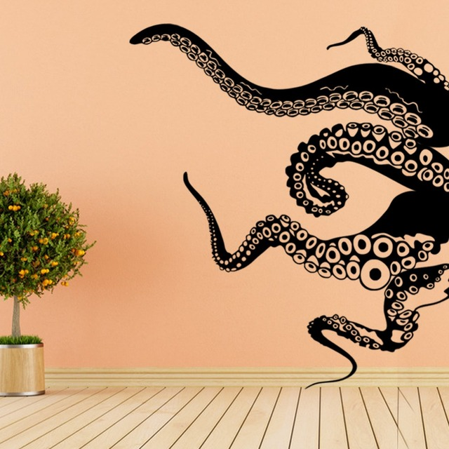 Large Size Octopus Tentacles Vinyl Wall Sticker Art Background ...