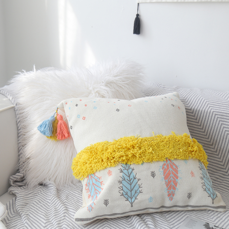 Morocco Hand embroidered Pillow Cover Living Room Decor Tufted Tassel Bedside Cojines Decorativos Para Sofa Cushion Cover in Cushion Cover from Home Garden