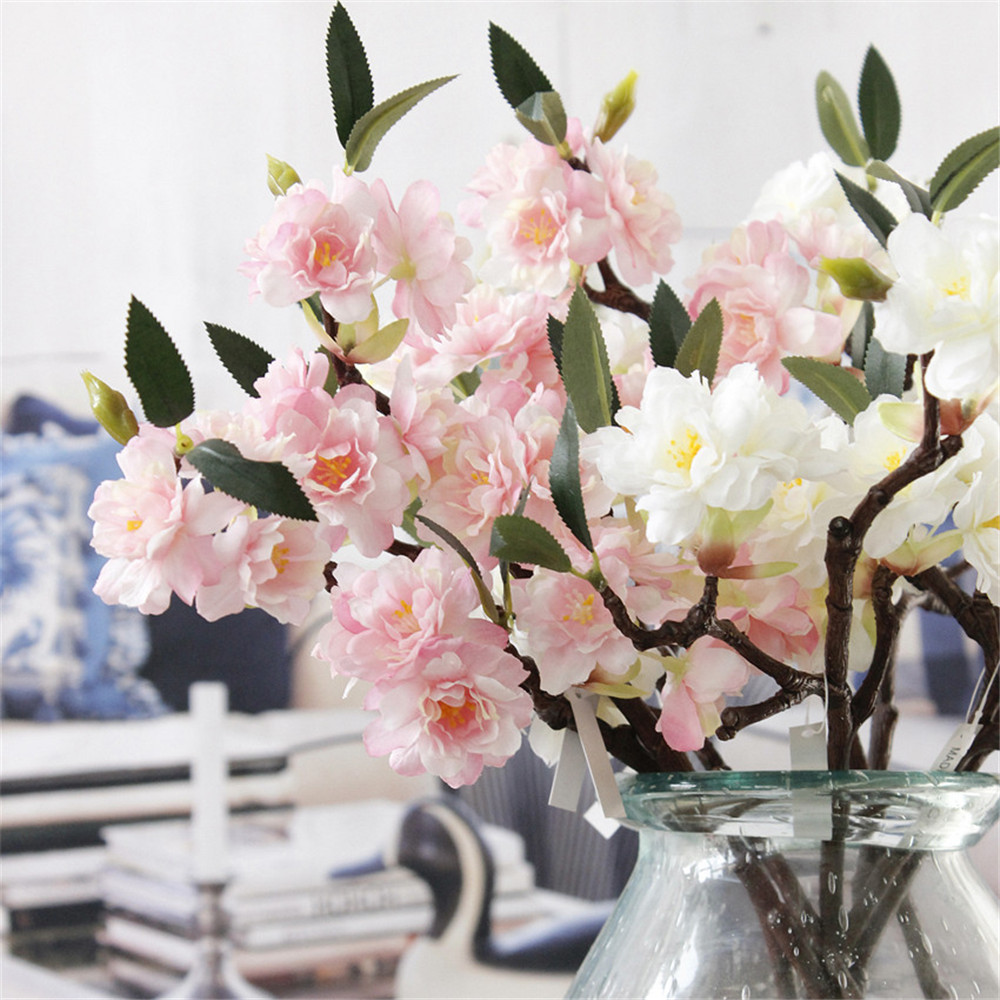Online buy wholesale silk cherry blossom from china silk cherry new artificial fake cherry blossom silk flower bridal hydrangea home decor whitechina dhlflorist Image collections