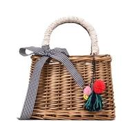 XCZJ Square Bamboo Woven Handbag Women Straw Bag Bohemian Bow Ladies Shoulder Bag Designer Rattan Summer Beach Crossbody Bag