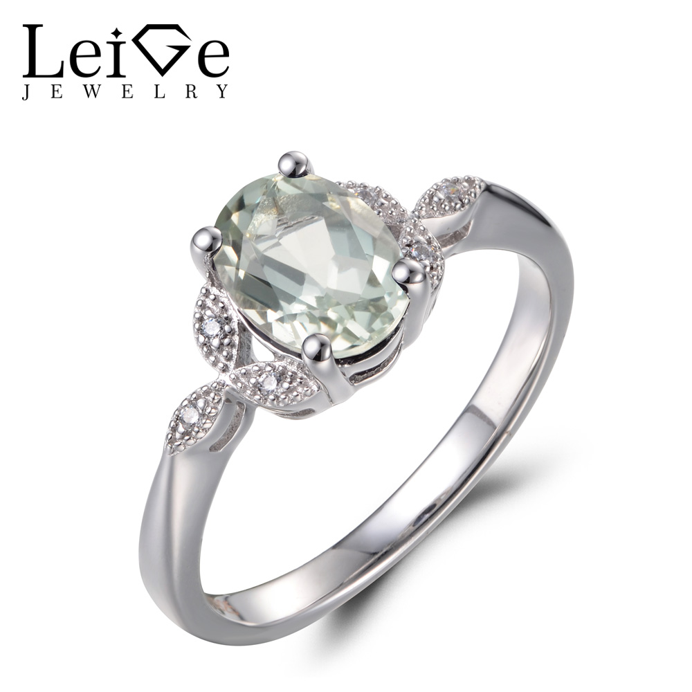 Leige Jewelry Real Natural Green Amethyst Rings Cocktail Rings Oval Cut Gemstone 925 Sterling Silver Fine Jewelry for Women natural real amethyst ring 925 sterling silver 6 8mm gemstone for men or women rings fine jewelry