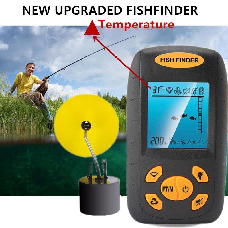 Tragbare Sonar Fish Finder Tiefe Unterwasser Angeln Kamera Sounder Alarm Transducer Fishfinder 100 m temperatur echolot