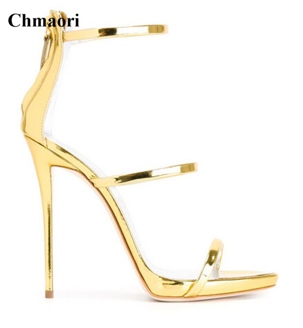 f0354feb7d8 Ladies New Fashion Open Toe 3 Straps Gold Silver High Heel Sandals Cut-out  Super High Heel Sandals Dress Shoes