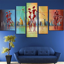 5Plane Large Huge Size Wall Modern Painting Poster City And Ladies Dance Canvas Art Pictures Artwork Home Decor Without Framed