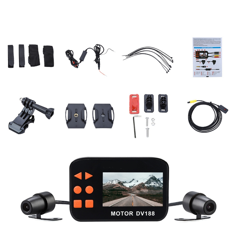 2.7-Inch 1080P Dv 188 Motion Camera Dvr Double Waterproof Lens Car Cam Dual-Lens Sprint Camera Camera Front And Rear Double Re