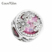 2017 Spring Pink & Clear CZ Dazzling Daisy Flowers Meadow Charms Beads Fit Charms Bracelets 925 Sterling Silver Jewelry