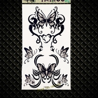 Black Henna Butterfly Temporary Tattoo Waterproof Fake Flash Tattoo Stickers GGF545 3D DIY Tatoos Black Color For Kids