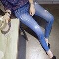 2016 outono Nova Moda Lápis calças de Brim Das Mulheres Magras Algodão Macio Estiramento Calças Jeans Luz Azul Calças De Ganga Para Mulheres de Roupas