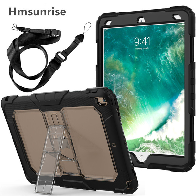 Hmsunrise Case For ipad pro 10.5 Kids Safe Shockproof Heavy Duty Silicone Cover Build-in Bracket Shoulder strap A1701 A1709 for ipad pro 10 5 a1701 a1709 kickstand case heavy duty shockproof rugged armor hard pc silicone full body protect cover foripad