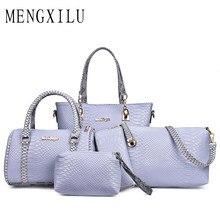 9184aac4df655 MENGXILU اعوج 5 قطعة المجموعة النساء حقائب جلدية عالية الجودة الكتف حقيبة  المرأة العلامة التجارية السيدات حقائب اليد المحافظ و ح.