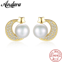 100% 925 Sterling Silver Natural Pearl Earrings for Women Silver Business Star Moon Earrings Wedding