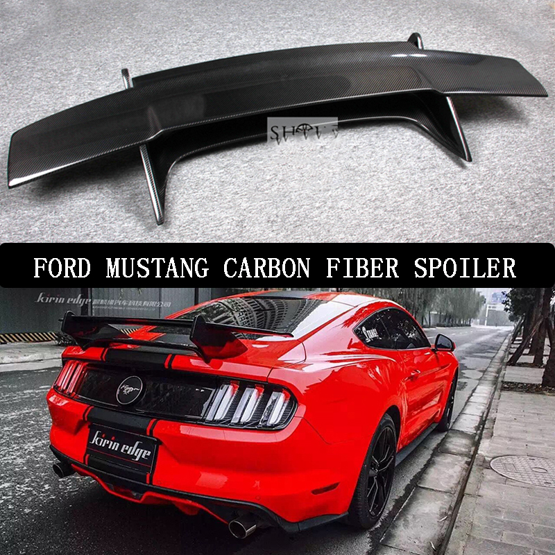 For Ford <font><b>Mustang</b></font> <font><b>2015</b></font> 2016 2017 Rear <font><b>Wing</b></font> Spoiler, Trunk Boot <font><b>Wings</b></font> Spoilers Carbon Fiber Screw installation GT style image