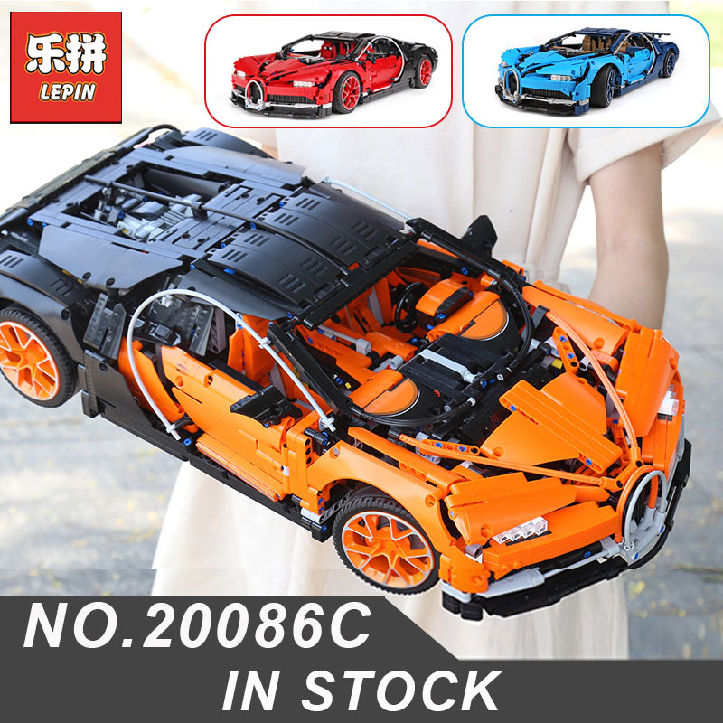 Orange Bugatti Chiron Lepin 20086C Compatible Legoing 42083 Racing Car Educational Toys Birthday Gifts Building Blocks Bricks lepin bugatti 20086b technic figures chiron racing car sets compatible legoing 42083 model building kits blocks bricks boy toys