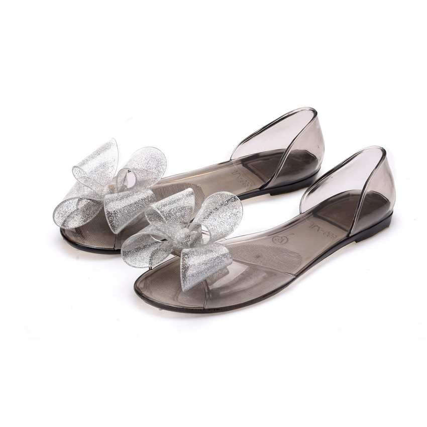 2017 New Women Beach Sandals Shoes Flat Transparent Jelly Sandals Casual  Slippers Glitter Bowtie Woman Summer Sandals Flats-in Women s Sandals from Shoes  on ... 74093b606fb9
