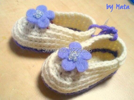 Weiß Und Lila Booties Baby Schuhe Booties Häkeln Booties Häkeln