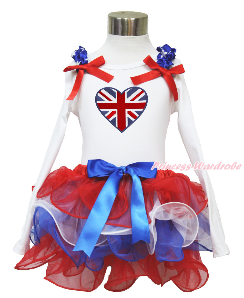 4th July British Flag Heart  White Long Sleeves Pettitop Red White Blue Petal Pettiskirt NB-8Y MAMH222 4th july america flag style stripe pettiskirt white ruffle tank top 2pc set 1 8year mamg1143