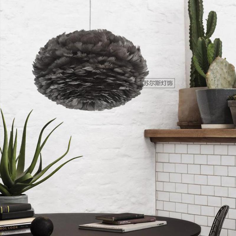 Shopcase Led noir plume pendentif lumières pour maison Salon chambre enfants chambre E27 moderne nid suspension lampe Bar plume lampe