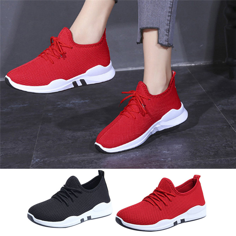 255d2ac7e9 Women Running Shoes women's sneakers Trainers Lace Up Flat Comfy Fitness  Gym Sports Shoes Casual ladies Shoes #2g28#F