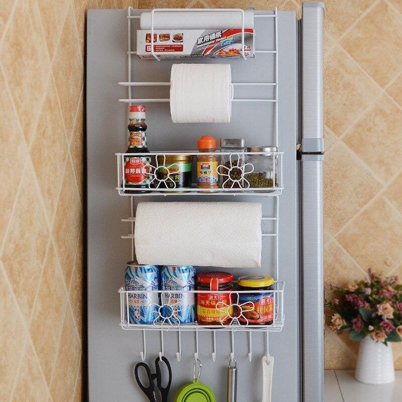 Multi layer Refrigerator Broadside Shelf Rack Sidewall Multipurpose Shelf Plastic Wrap Tissue Storage Rack Kitchen Organizer