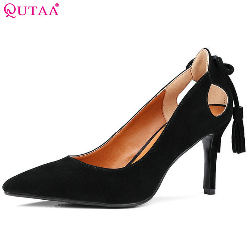 QUTAA 2017 Women Pumps Ladies Shoes Thin High Heel Bow Tie Pointed Toe PU leather Sexy Black Woman Wedding Shoes Size 34-39 plus size 11 12 black pointed toe wedding women shoes summer office ladies work shoes thin high heel pu leather woman pumps