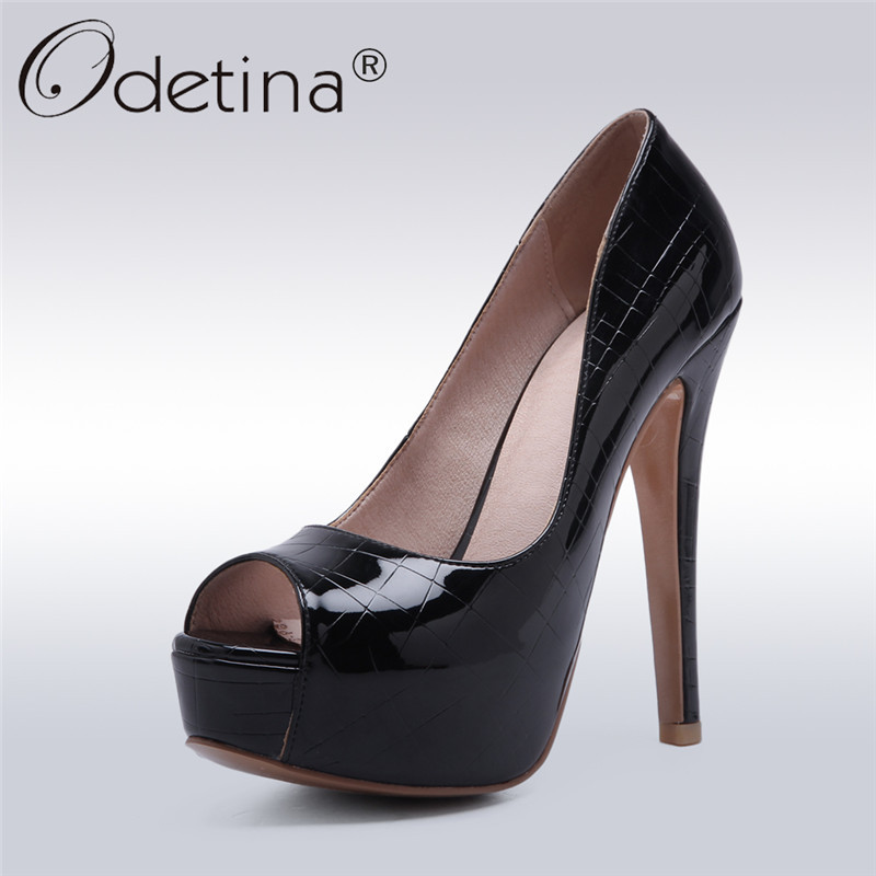 Odetina 2018 New Fashion Women Peep Toe Slip On Platform Pumps Thin Extrem High Heel Shoes Patent Leather Sexy Shoes Big Size 48 big size high spike heel platform women pumps peep open toe leopard patent leather party wedding slip on sexy lady thin stiletto