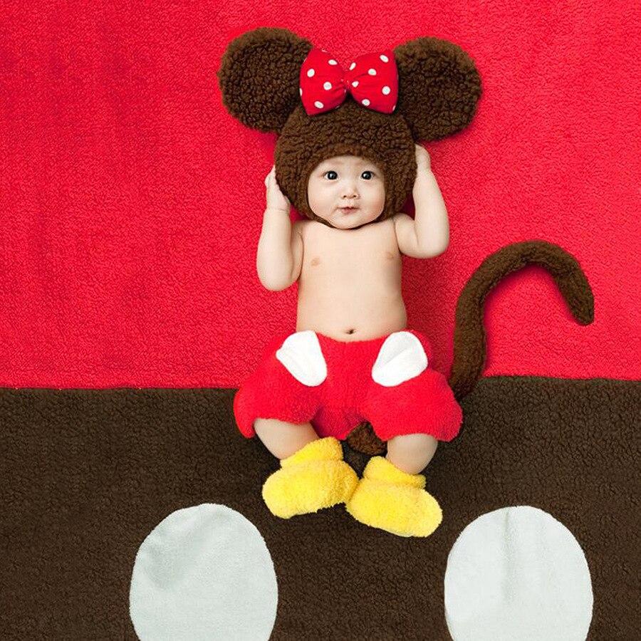 Novorozeně Chlapec Dívky Kreslený Opice Klobouk Fotografie Props Batoľa Foto Shoot Flanelové oblečení Tiny Baby Fotografie rekvizity Oblečení