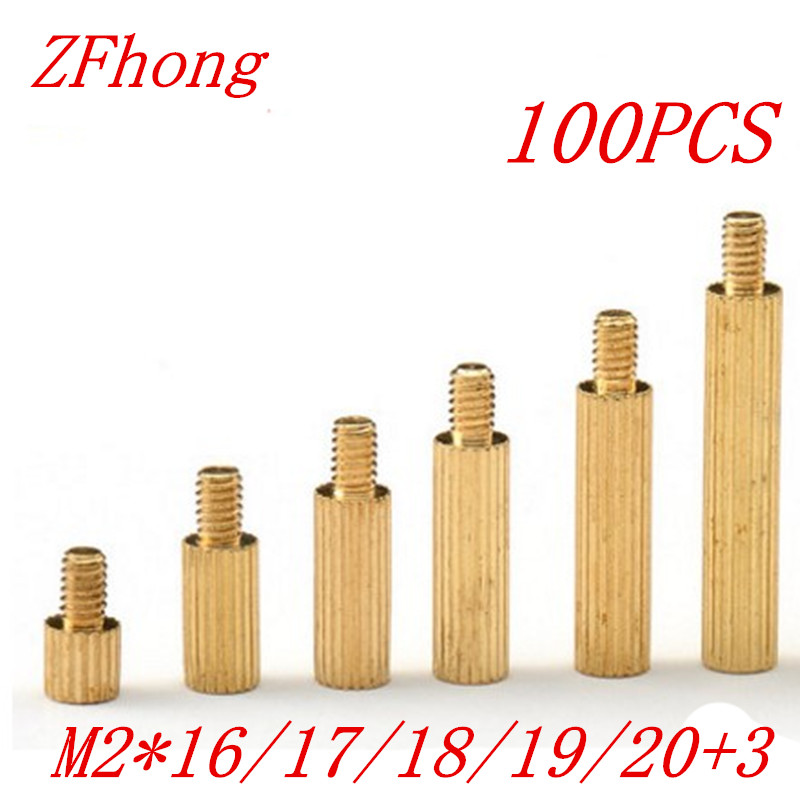 100PCS M2 Brass Standoff Spacer M2*16/17/18/19/20+3 Male to Female Thread m2 4 3 1pcs brass standoff 4mm spacer standard male female brass standoffs metric thread column high quality 1 piece sale