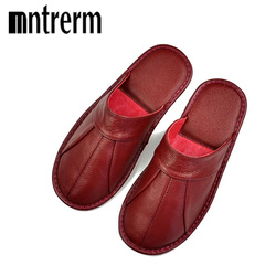 Mntrerm Luxury Spring Summer Fashion Home Slippers Couples Genuine Cow Leather Cow Sandals Shoes Women Indoor Slippers one color