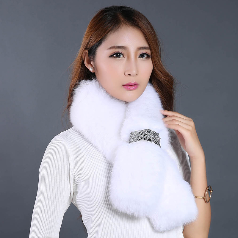 Real Fur Scarves Handmade Stitched Fashion Metal Ornaments Warm Winter Scarf For Women 2016 New Luxurious Fox Fur Scar