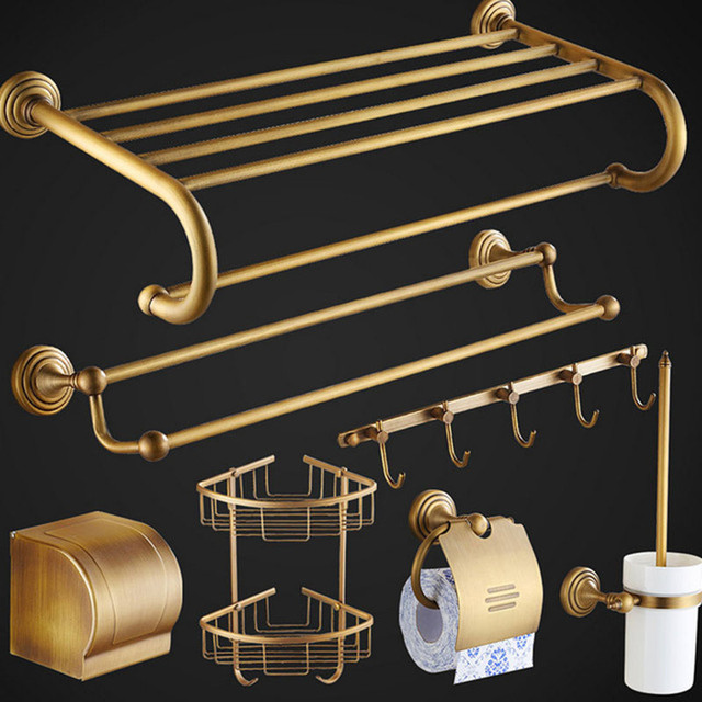 Solid Bathroom Accessories Set Wall Mounted Products Brass Brushed ...