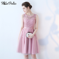 PotN'Patio Luxury Appliques Beading Knee Length Lace Tulle Dusty Rose Bridesmaid Dresses Short For Wedding 2017