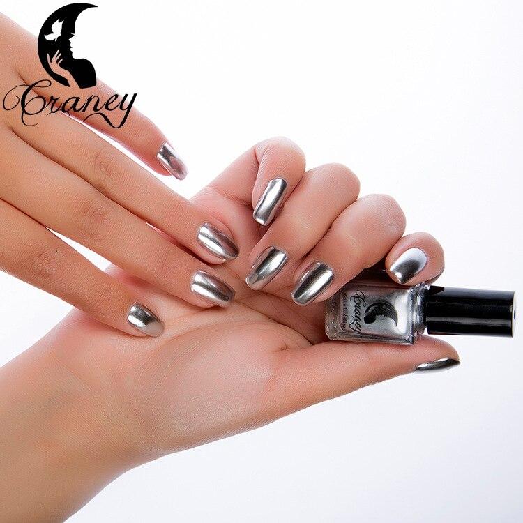 Fashion 6ml Silver Mirror Metallic Nail Polish Silver Mirror Effect ...