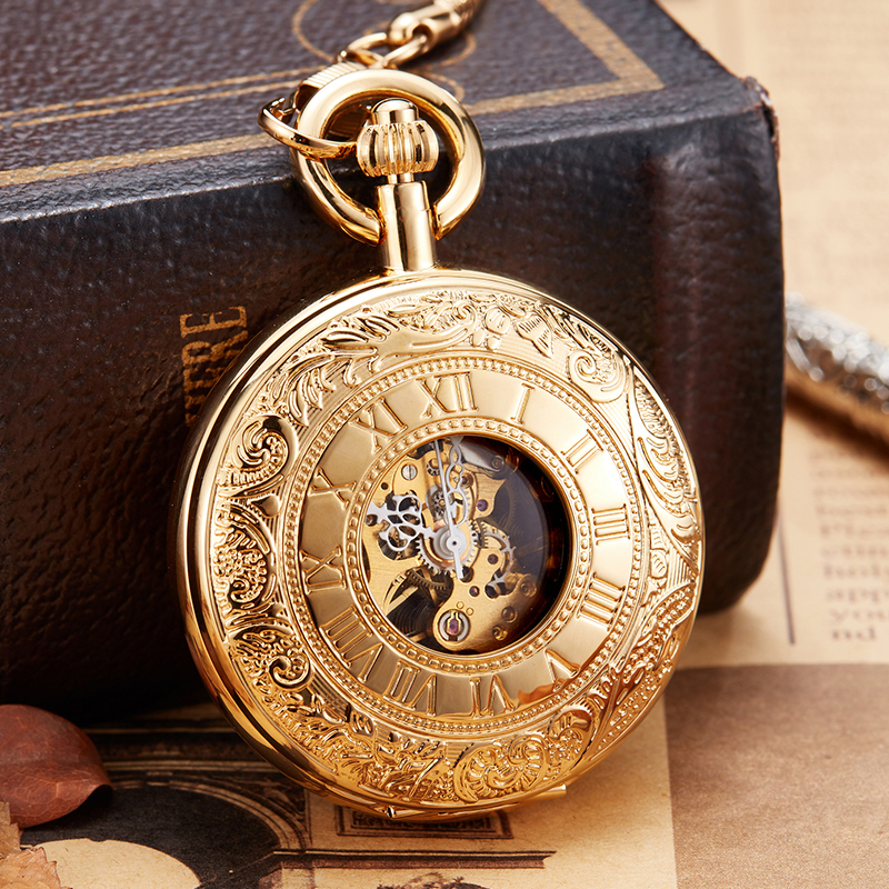 Luxury Copper Golden Silver Mechanical Pocket Watch Hand Winding Clock Fob Chain Watch Men Roman Numbers Skeleton Clock