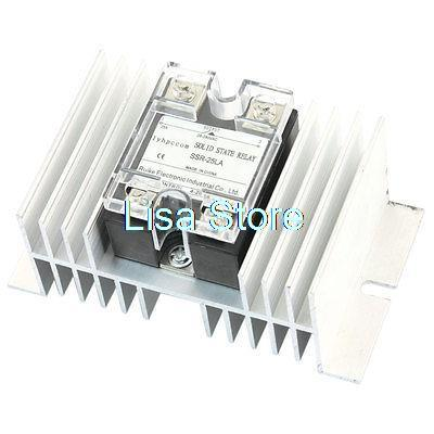SSR-25LA 4-20mA to AC28-280V 25A Aluminum Heat Sink 1 Phase Solid State Relay high quality dc to ac solid state relay ssr 60da 60a 4 32v 75 480v aluminium heat sink