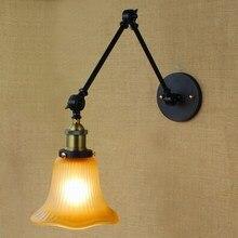 Lámpara de pared de estilo industrial, lámpara de pared de oxidación antigua, iluminación de pared de brazo oscilante para sala de trabajo, tocador de baño, brazo Tornado de 2 aplicaciones