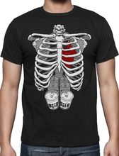 Novelty Cool Tops  Ord Office Halloween Skeleton Six Pack Be Abs Xray Costume Rib Cage MenS Design T Shirts