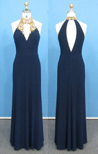 Lange Frauen Abendkleid Cut Zurück Navy Meerjungfrau Stehkragen Abendkleid Mit Perlen Marineblau Benutzerdefinierte Größe