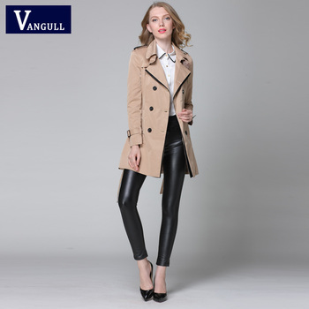 VANGULL 2016 New Fashion Designer Brand Classic European Trench Coat khaki Black Double Breasted Women Pea Coat real photos 8
