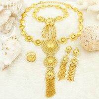 2018 moda África nuevas mujeres Juegos de joyería Nigeria nupcial de la boda cristal collar Pendientes anillo de oro joyería de diseño