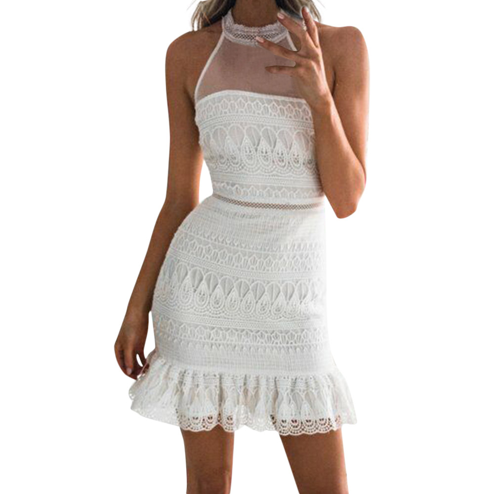 2018 Women Lace  Sleeveless Bodycon Party Pencil Dress Bandage Dresses women dresses evening party Women Dress Slim semi formal summer dresses