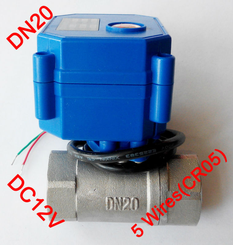 3/4 Mini electric valve 5 wires(CR05), DC12V motorized valve SS304, DN20 electric miniature valve with signal feedback