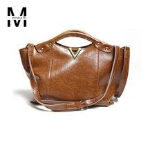 2016 Autumn/Winter vintage Women genuine leather handbags oil wax cowhide shoulder bags for female big casual tote bag crossbody