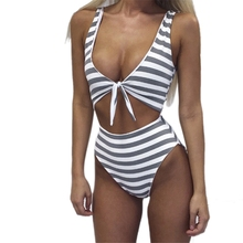 2019 NEW Sexy Women Striped Swimwear High Cut Out One Piece Swimsuit Black White Printing Women Bathing Suits
