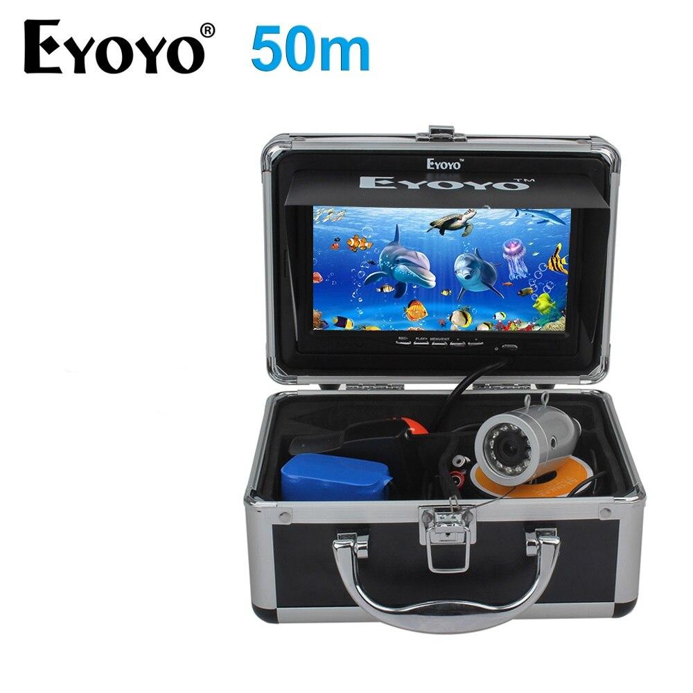 EYOYO D'origine HD 1000TVL 50 m Sous-Marine Pêche Caméra Fish Finder Plein Argent CAM 7 Moniteur 12 pcs IR infrarouge LED Pare-Soleil