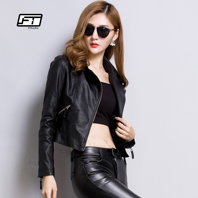 Fitaylor Faux   Leather   Jacket Women Ladies Basic   Leather   Outwear Soft PU Black Bomber Coat Motorcycle Punk Jacket