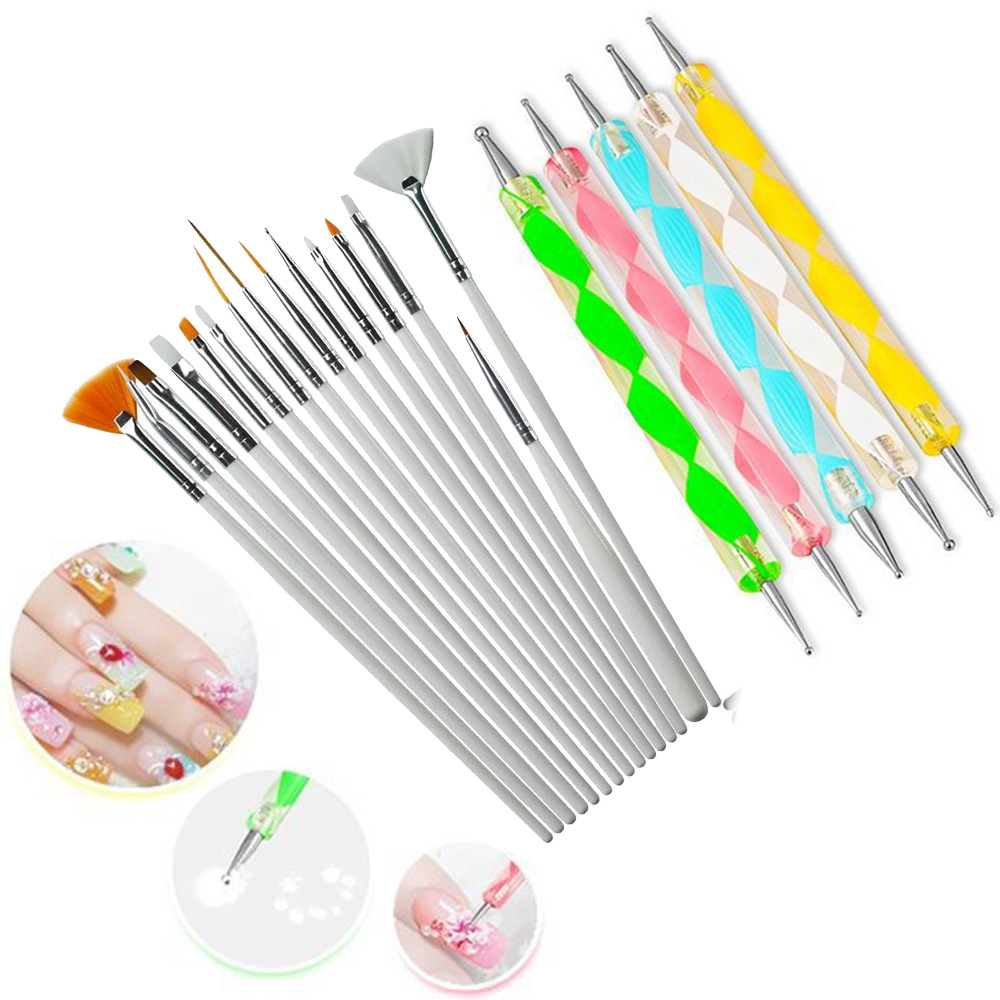 20 Pcs/Set Nail Art Design Set Dotting Painting Drawing Polish Brush Pen Tools Nail Polish Art Brush 5pcs nail art tool dotting painting transparent plastic marbleizing pen for beauty