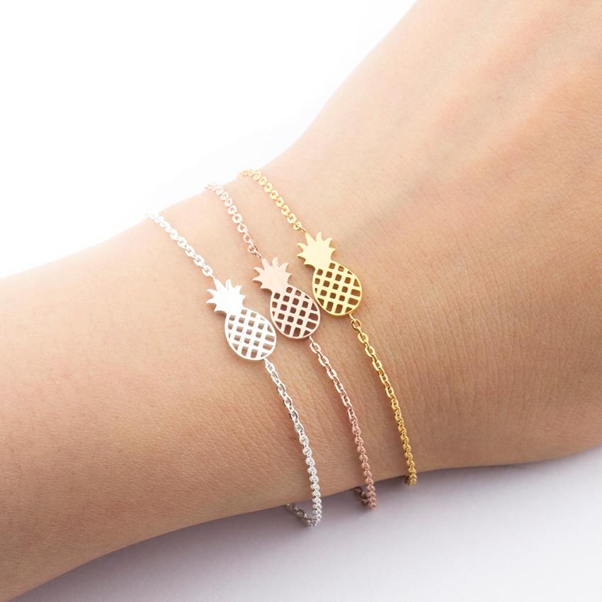 Минимализм ананас браслет для женщин Изысканные летние BFF ювелирные изделия из нержавеющей стали золотые Цвет полированный ananas браслет Femme